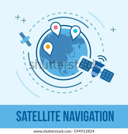 gps satellite earth orbit gps global stock vector royalty free