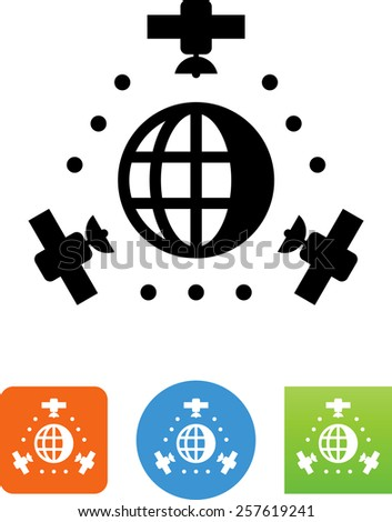 GPS satellites with globe. Vector icons for video, mobile apps, Web sites and print projects.  - stock vector