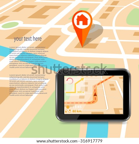 GPS technology laying of a route travel ,tourism  - stock vector