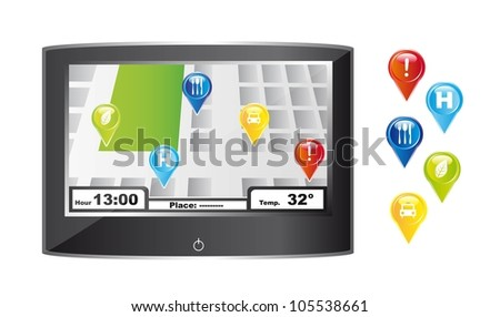 gps with colorful icons over white background. vector illustration - stock vector