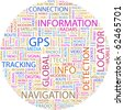 GPS. Word collage on white background. Illustration with different association terms. - stock photo