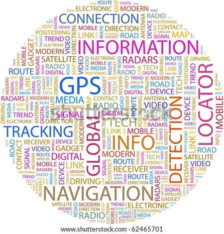 GPS. Word collage on white background. Illustration with different association terms. - stock vector