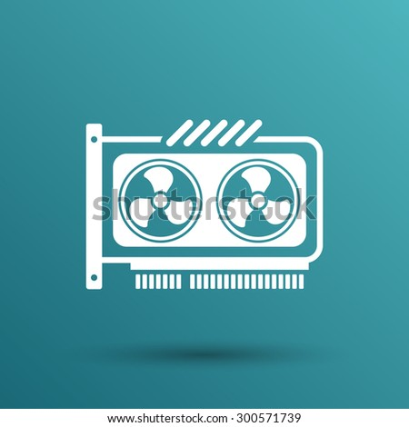 GPU or Computer graphic card icon component. - stock vector