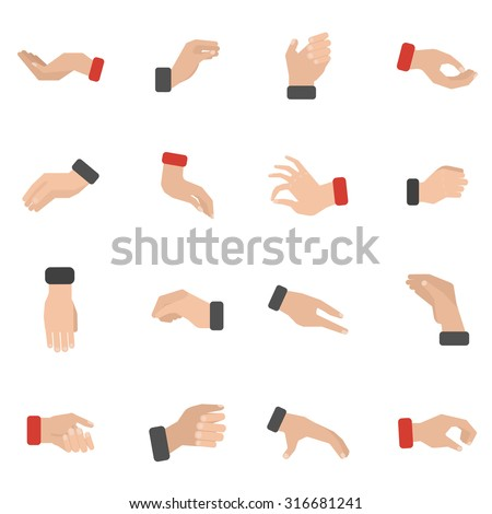 Grabbing hand icons set with picking taking and holding flat isolated vector illustration  - stock vector