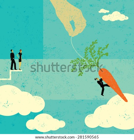 Grabbing the Carrot People watching as a businessman takes a chance and jumps for the dangling carrot. The people, hand,and carrot are on a separate labeled layer from the background. - stock vector