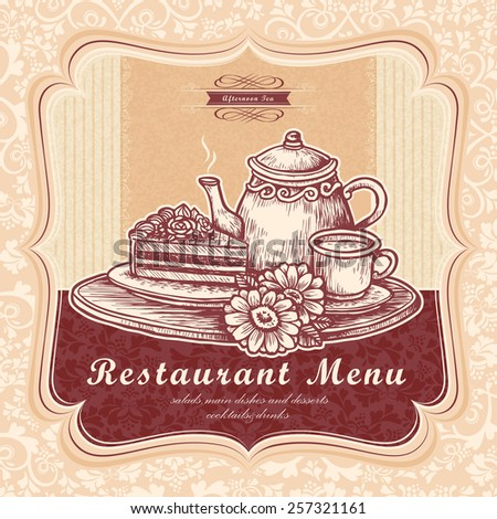 graceful afternoon tea menu design with delicate hand drawn dessert - stock vector