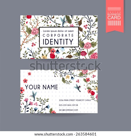graceful business card design with lovely floral pattern over purple spotted white background - stock vector