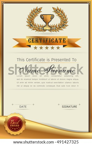 Graceful Certificate Template With Luxury And Modern Pattern, Qualification Blank  Template With Elegant,Gold  Blank Stock Certificate Template