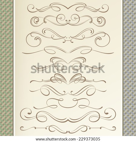 Graceful Dividers and Vignettes in Calligraphic Style with Vintage Background - stock vector