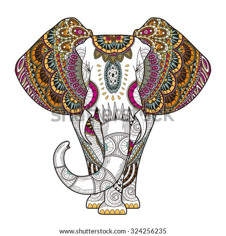 graceful elephant coloring page in exquisite style - stock vector