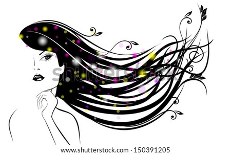 Graceful girl with beautiful curls - stock vector