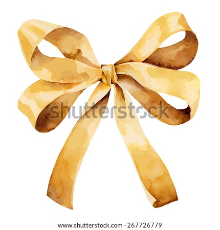 Graceful golden bow isolated on white background. Vector illustration - stock vector