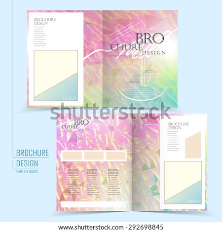graceful half-fold template design with crystal elements - stock vector