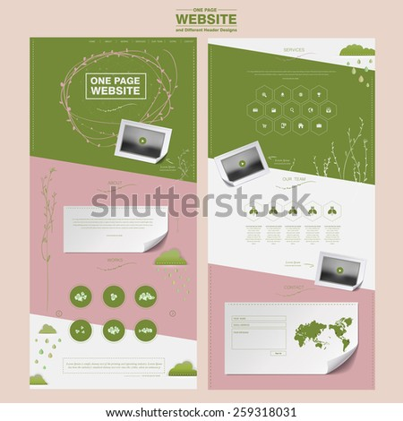 graceful one page website design template in pink and green - stock vector