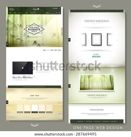 graceful one page website design template with blurred scenery background - stock vector
