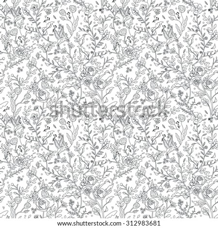 graceful seamless floral pattern coloring page in exquisite style  - stock vector