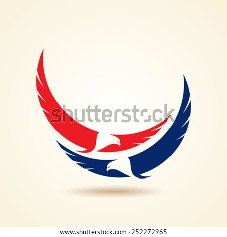 Graceful soaring eagle logo with outstretched wings in two color variations - stock vector