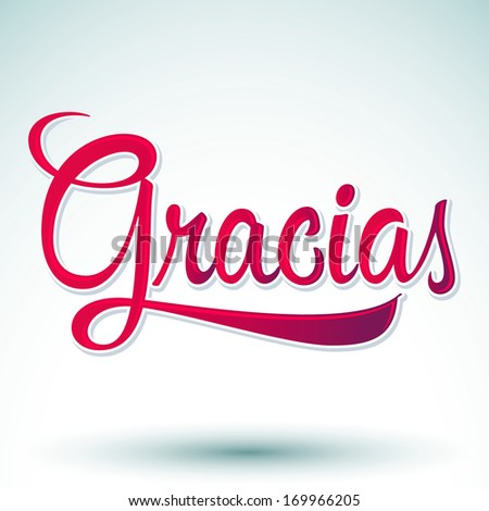 Gracias - THANK YOU spanish text - hand lettering - vector - stock vector