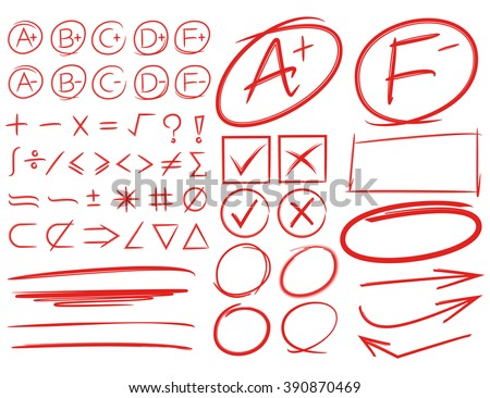 grade results, grade symbols, highlighters, markers, underlines, arrows, math signs, circles  - stock vector