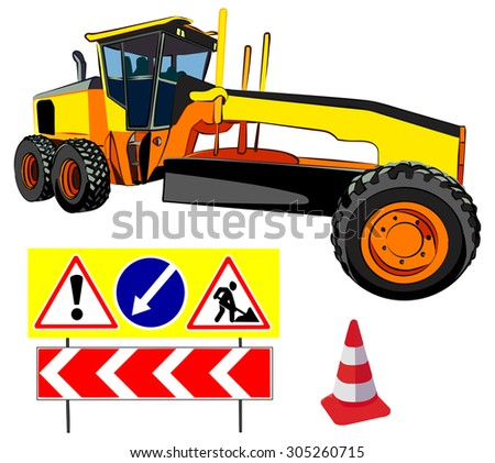 Grader and road signs, vector illustration, isolated on white - stock vector