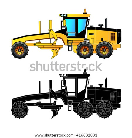 Grader. Heavy equipment and machinery, detailed vector illustration. Isolated on white. Icon. Flat style. Silhouette - stock vector