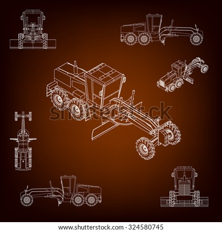 Grader, road scraper. Construction machinery. Parallel projection. Perspective view of the vehicle. Set of a plurality of images. Contour lines. Silhouettes of construction machinery - stock vector