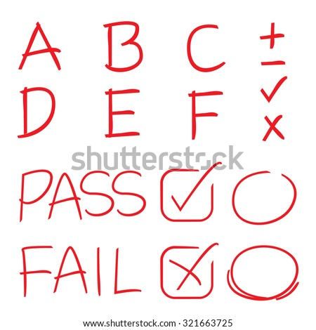 grades results with circles and check marks - stock vector