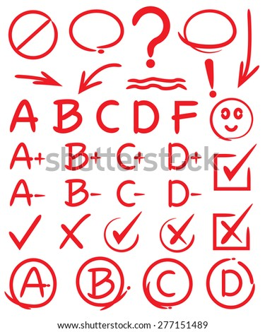 grades with circles and highlight elements, check marks, hand drawn elements, vector - stock vector