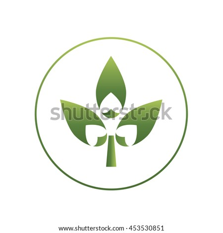 Gradient abstract logo of three leaf and heart shape cutout. Vector concept illustration of eco, spa and bio products. Brand design element on isolated background - stock vector