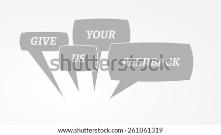 gradient background with give me feedback speech bubbles - stock vector