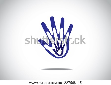 gradient blue human hands on top of each other family support children love abstract concept - stock vector