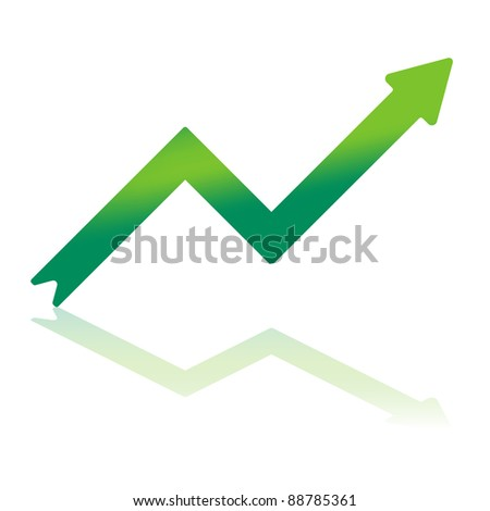 Gradient Color Arrow Indicating Financial Growth With Reflection on Bottom Plane - stock vector