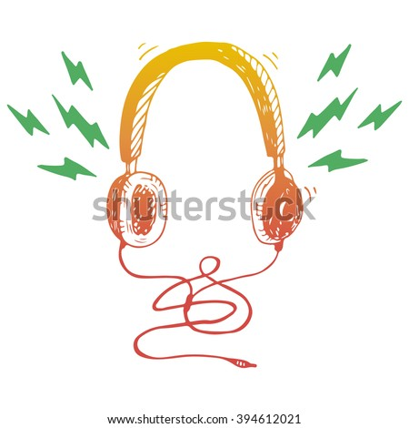 Gradient head phones on a white background. Vector illustration - stock vector