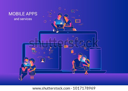 Gradient line vector illustration of people using gadgets sitting on smartphone, tablet and laptop and enjoying ux and ui design. Young couples using cross platform mobile apps for social networks