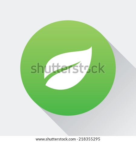 Gradient Round Leaf Button - stock vector