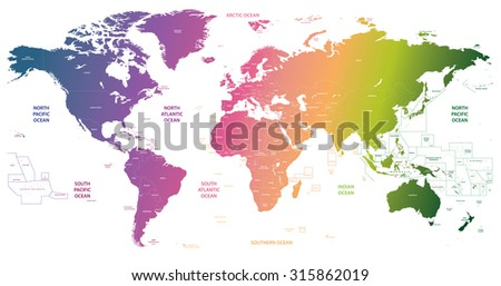 gradient world map - stock vector