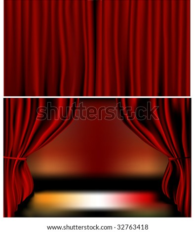 Gradients meshes used. Closed and open curtains, each on separate layers. Vector illustration. - stock vector