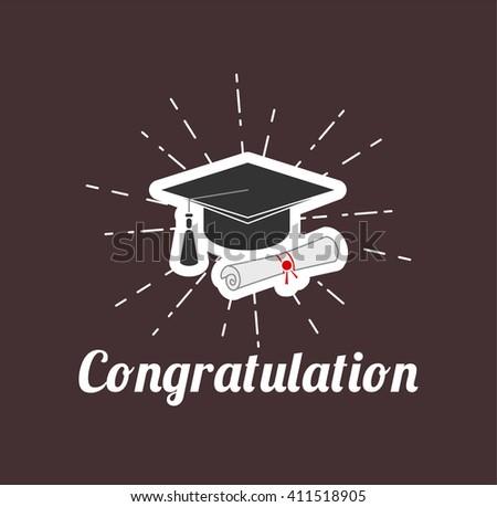 Graduate cap. Vector Illustration.  Congratilation card. Graduation party.  - stock vector