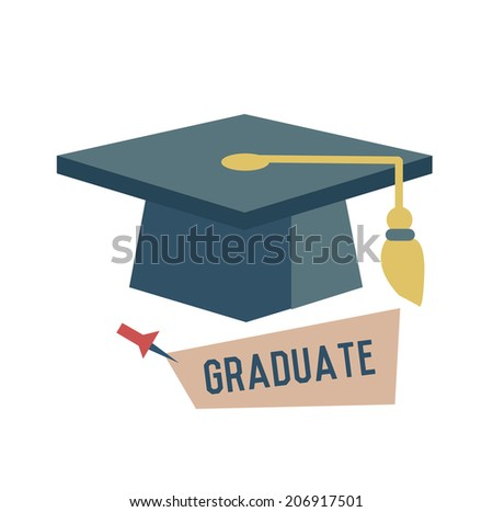 Graduate concept design,retro design on white background,clean vector