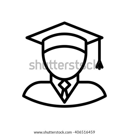 Graduate fully scalable vector icon in outline style. - stock vector