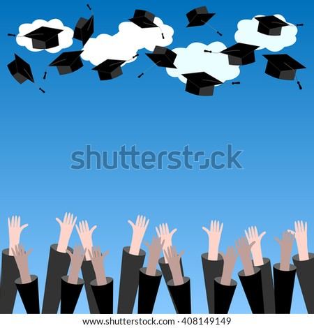 Graduate Hands Throwing Up Graduation Hats. Graduation Background with Place for Text. Graduation Caps in the Air.