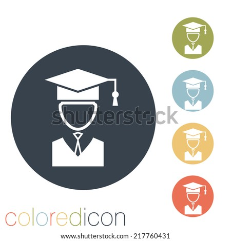 graduate hat avatar sign. the head of the student learner. Education sign - stock vector