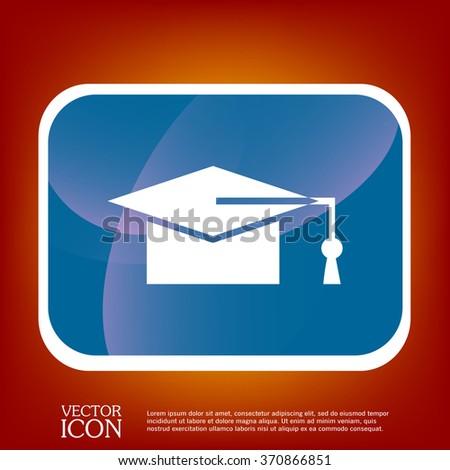 graduate hat sign. Education sign. symbol icon college or institute. graduation - stock vector