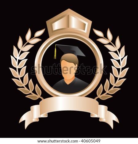 graduate in gold royal display - stock vector