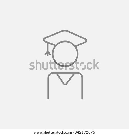 Graduate line icon for web, mobile and infographics. Vector dark grey icon isolated on light grey background. - stock vector
