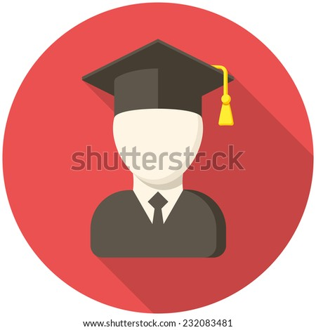 Graduate, modern flat icon with long shadow - stock vector