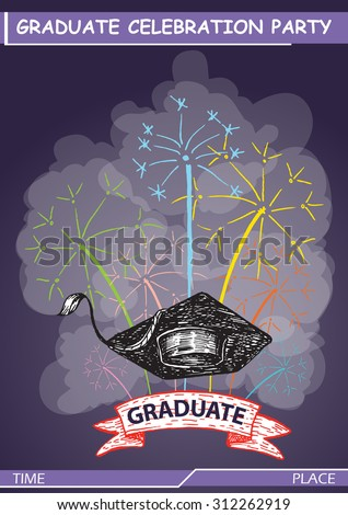 Graduate party poster template, hand draw style - stock vector