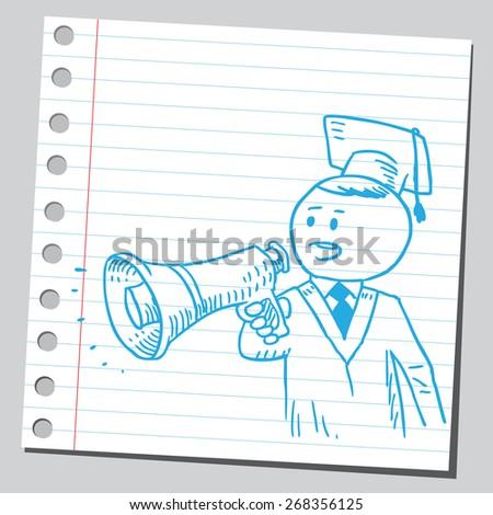 Graduate student speaking in to megaphone - stock vector