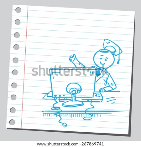 Graduate student with computer - stock vector