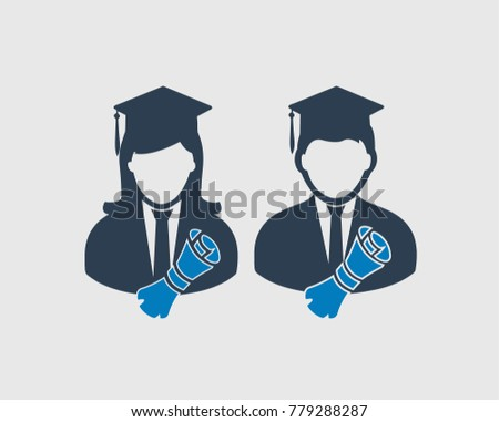 graduate students icon male and female symbol with graduation had and certificate on gray background